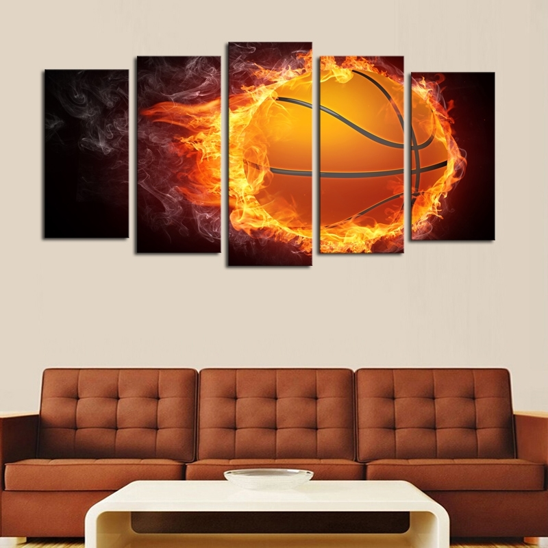 Unframed 5 Pcs Flame Basketball Picture Print Painting Modern Canvas Intended For Basketball Wall Art (Photo 4 of 10)