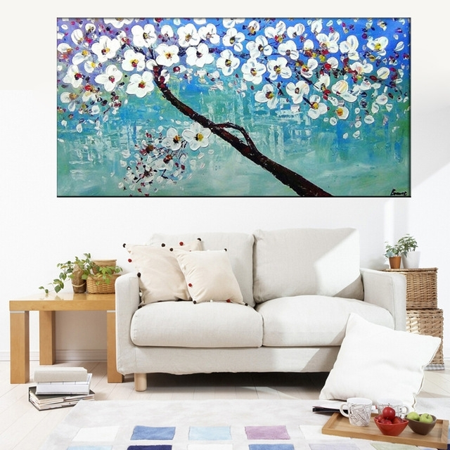 Unframed Hand Painted Blue White Cherry Blossom Tree And Flower With Regard To Home Goods Wall Art (Image 10 of 10)