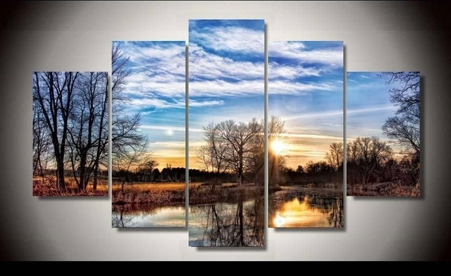 Unframed Printed Natural Scenery 5 Piece Wall Art Room Decor Poster Within 5 Piece Wall Art Canvas (Photo 3 of 10)