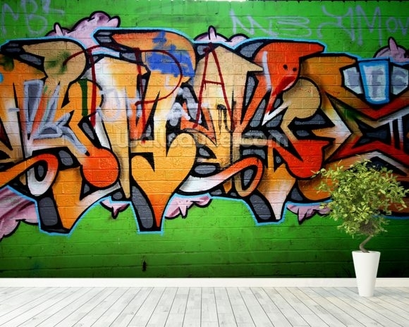 Urban Graffiti Wallpaper Wall Mural | Wallsauce Usa For Graffiti Wall Art (Photo 9 of 10)