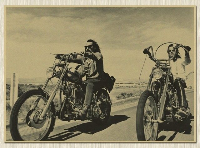 Usa Route 66 Rider Motorcycle Kraft Paper Poster Retro Wall Art Within Motorcycle Wall Art (Photo 3 of 10)