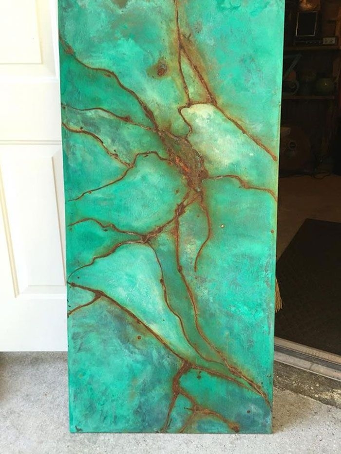 Using Metal Effects To Create A Faux Turquoise Gem Wood Wall Art Throughout Turquoise Wall Art (Image 9 of 10)