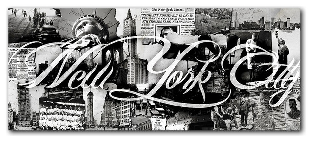 "Vintage B&w New York City"" Canvas Wall Art – Contemporary – Prints For New York Wall Art (Image 10 of 10)"