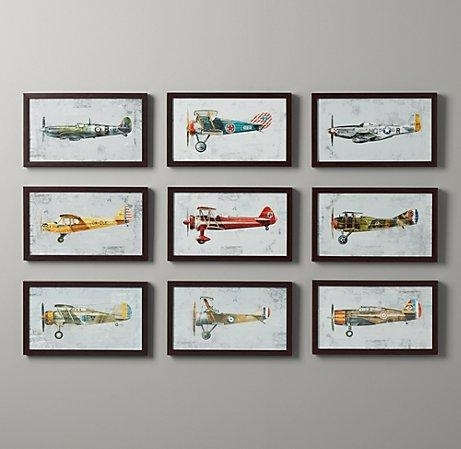 Vintage Prop Plane Art – Wall Art – Restoration Hardware Baby & Child In Vintage Wall Art (Image 8 of 10)