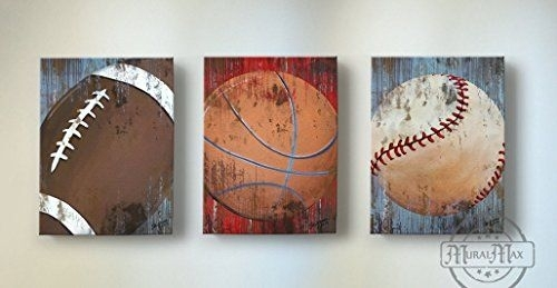 Vintage Sports Wall Art – Basketball Baseball And Football Canvas Within Sports Wall Art (Image 9 of 10)