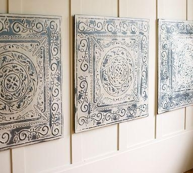 Vintage Tin Tiles, Set Of 3 – Pottery Barn In Tin Wall Art (Image 7 of 10)