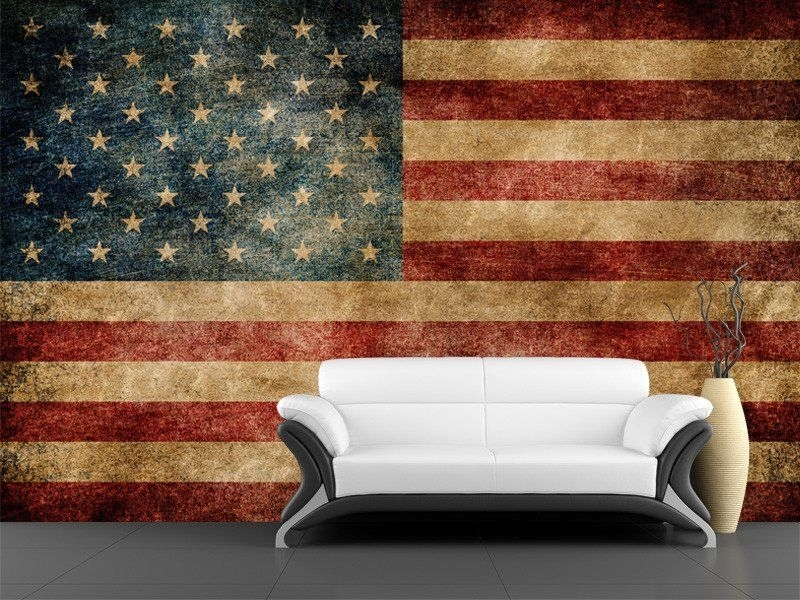 Vintage Usa Flag Decorations Wall Art Living Room Interior With Within Vintage American Flag Wall Art (Photo 5 of 10)