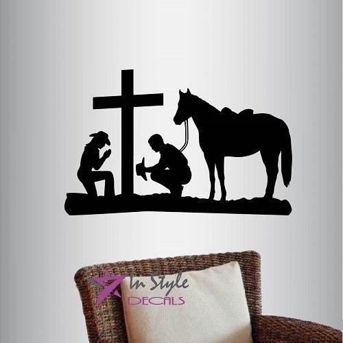 Vinyl Decal Cowboy And Cowgirl Praying Kneeling Cross Horse Western Regarding Western Wall Art (Image 7 of 10)