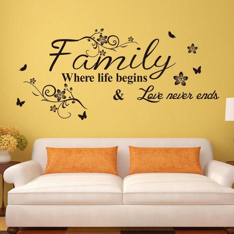 Vinyl Wall Art Decal Decor Quote Stickers Family Where Life Begins Regarding Wall Art Stickers (Image 8 of 10)