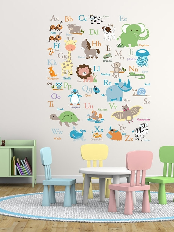 Vinyl Wall Decal Abc Wall Decal – Animal Alphabet Decal – Nursery With Regard To Alphabet Wall Art (Image 10 of 10)