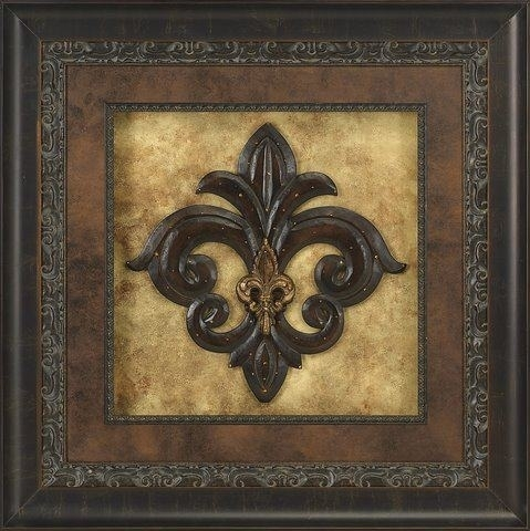 "Visser Amber Crystal Jeweled Gold Fleur De Lis Framed Picture 43"" X 43"" With Fleur De Lis Wall Art (Photo 1 of 10)"