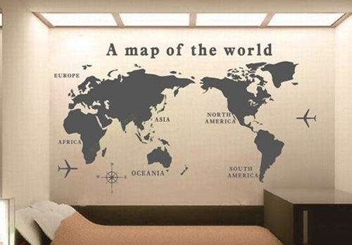 Wald Wall Art World Map Pattern Removable Wall Sticker Decal Pertaining To Wall Art World Map (Image 6 of 10)