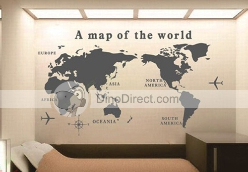 Wald Wall Art World Map Pattern Removable Wall Sticker Decal Regarding Map Of The World Wall Art (Image 8 of 10)