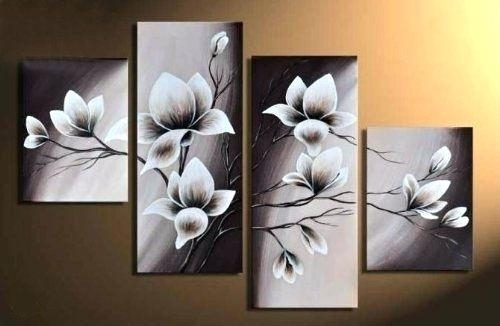 Wall Art Canvas Elegant Blooming Flowers Floral Oil Painting Wall Intended For Wall Art Canvas (Image 9 of 10)