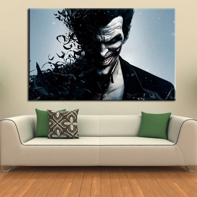 Wall Art Canvas Movie Poster Batman Joker Poster Print On Canvas Regarding Joker Wall Art (Image 10 of 10)