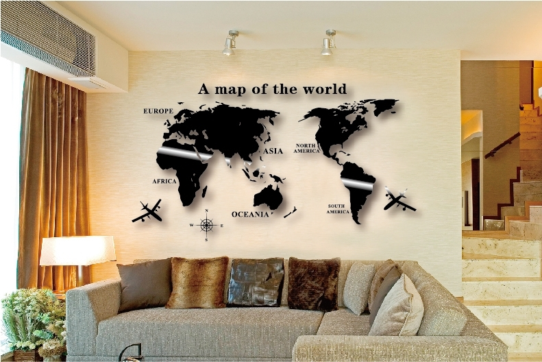 Wall Art Decal World Map Wall Sticker Globe Earth Wall Decor For Throughout Wall Art World Map (Image 7 of 10)