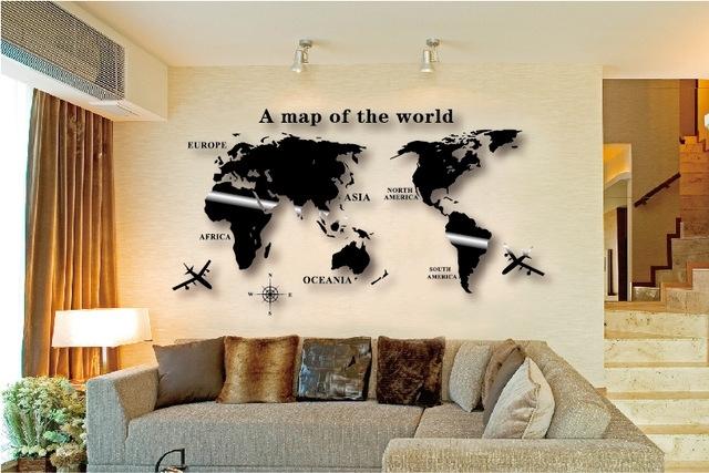 Wall Art Decal World Map Wall Sticker Globe Earth Wall Decor For With Diy World Map Wall Art (View 10 of 10)