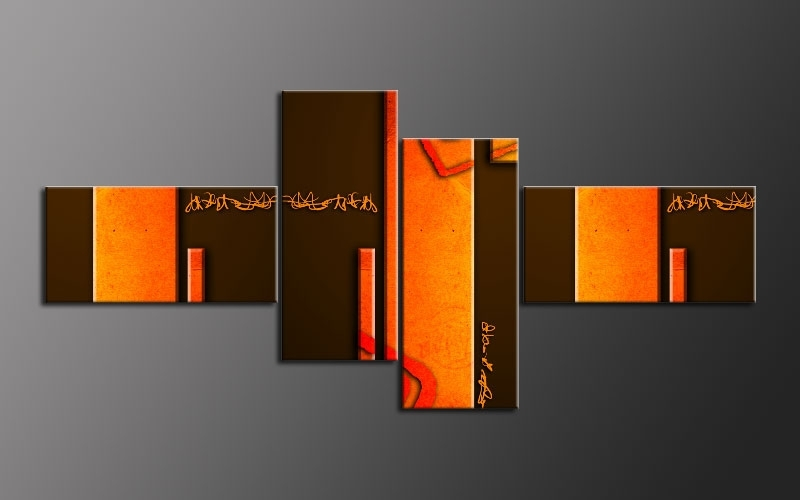 Wall Art Design Ideas: Multi Orange Wall Art Panel Great Themes Throughout Orange Wall Art (View 5 of 10)