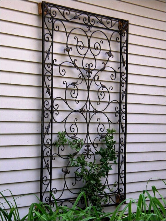 Wall Art Design Ideas: Wrought Iron Metal Garden Wall Art Outdoor Intended For Outdoor Wall Art Decors (Image 10 of 10)