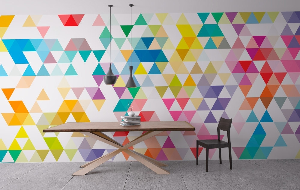 Wall Art Geometric Mid Century Triangles – Moonwallstickers In Geometric Wall Art (Image 9 of 10)