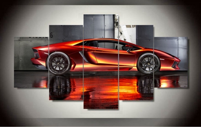 Wall Art Picture 5 Panel Cool Orange Reflective Sports Car Large Hd Intended For Car Canvas Wall Art (Image 10 of 10)
