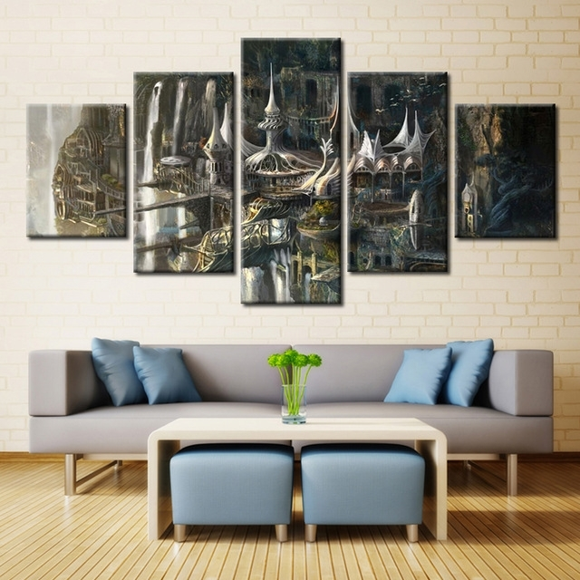 Wall Art Pictures Modern Hd Printed Painting 5 Panel Lord Of The Within Lord Of The Rings Wall Art (Image 9 of 10)