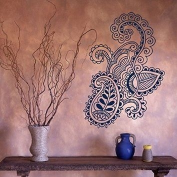 Wall Decal Vinyl Sticker Art Mehndi Henna From Amazon Intended For Henna Wall Art (Image 10 of 10)