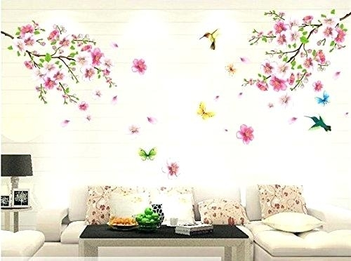 Wall Decor Flowers Autumn Awesome Stickers Good Life Pink Cherry Throughout Floral Wall Art (Image 8 of 10)