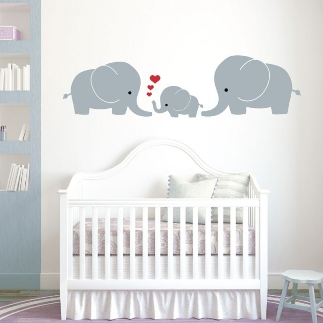 Wall Designer | Elephant Family, Mum, Dad, Baby – Baby Nursery Wall Within Baby Room Wall Art (View 7 of 10)