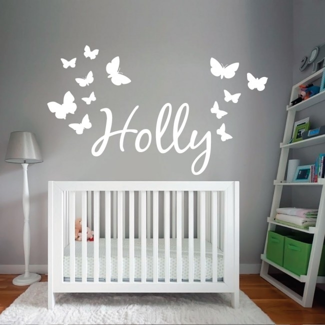 Wall Designer | Personalised Name Wall Art Sticker With Butterflies For Name Wall Art (Image 9 of 10)