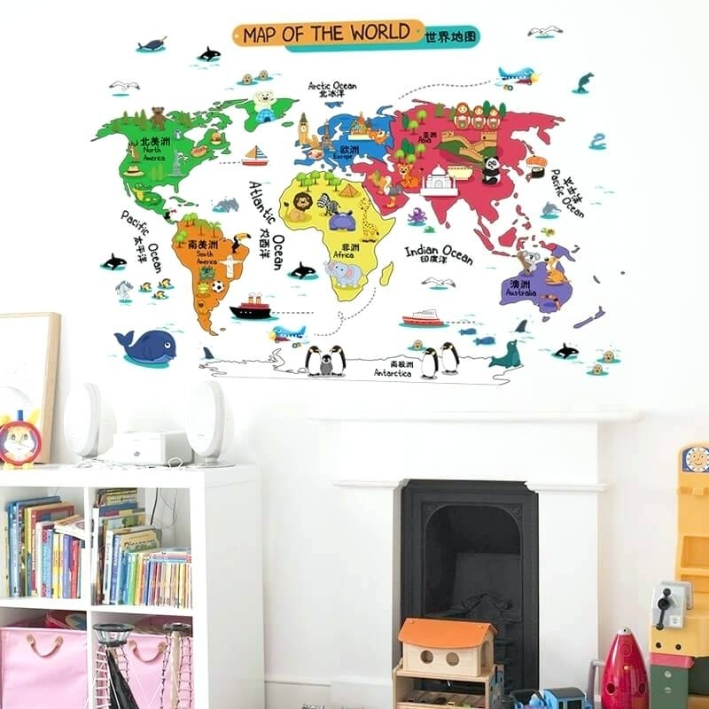 Wall World Map World Map Wall Sticker Illustrated Home Decor Vinyl With Vinyl Wall Art World Map (View 9 of 10)