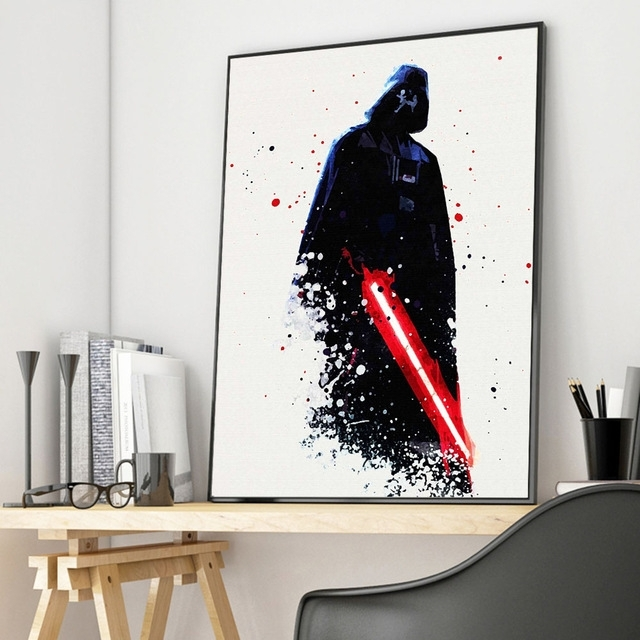 Watercolor Darth Vader Star Wars Canvas Posters Movie Prints Wall With Regard To Darth Vader Wall Art (Image 10 of 10)