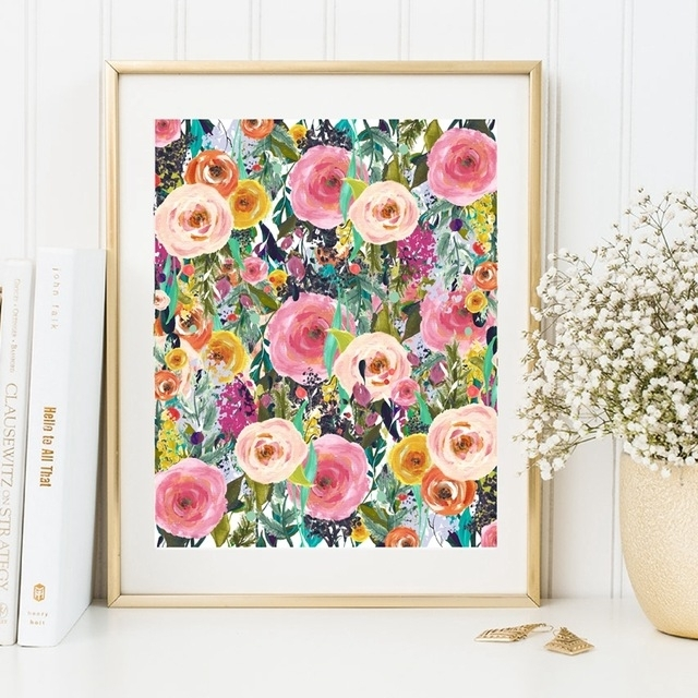 Watercolor Flower Canvas Painting Colourful Picture Wall Art Home Intended For Floral Wall Art (Image 10 of 10)