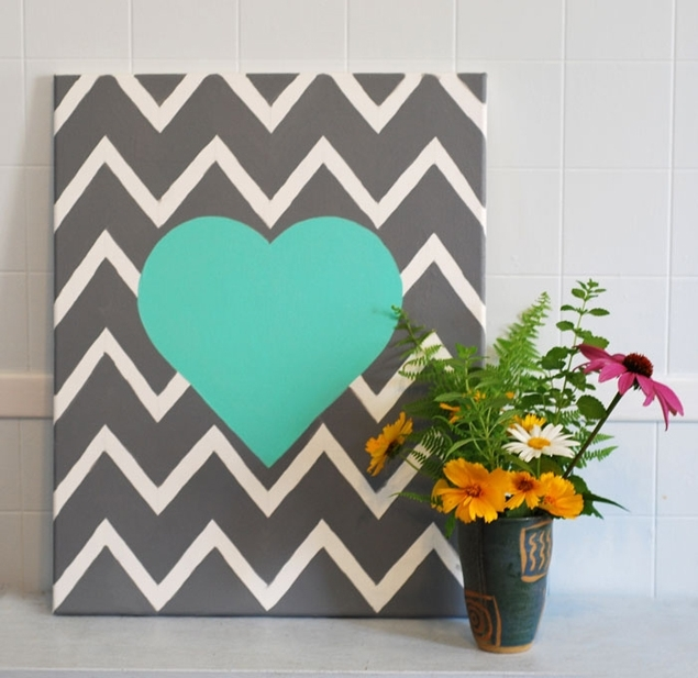 Wedding Projects: Diy Chevron Wall Art Heart Within Chevron Wall Art (Image 8 of 10)