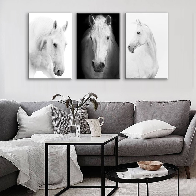 White Horse Wall Art Canvas Prints Modern Art Home Decor For Living Intended For Horse Wall Art (Image 8 of 10)