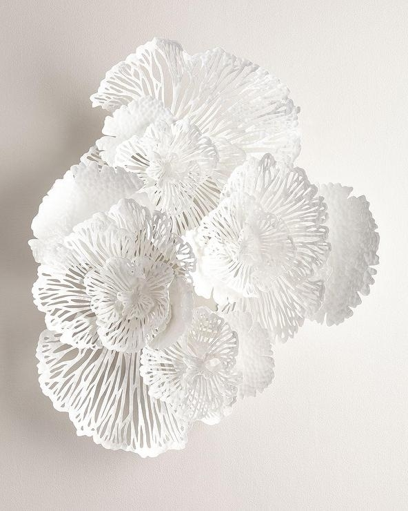 White Metal Flower Wall Decor Throughout Metal Flowers Wall Art (View 5 of 10)