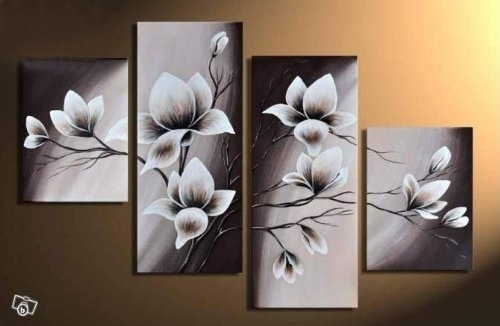 Wieco Art – Elegant Blooming Flowers 4 Panels Modern 100% Hand Intended For Canvas Wall Art Sets (Image 10 of 10)