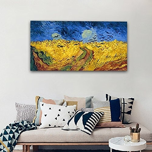 Wieco Art – Wheatfield With Crows Large Modern Framed Giclee Canvas Intended For Modern Framed Wall Art Canvas (Image 10 of 10)