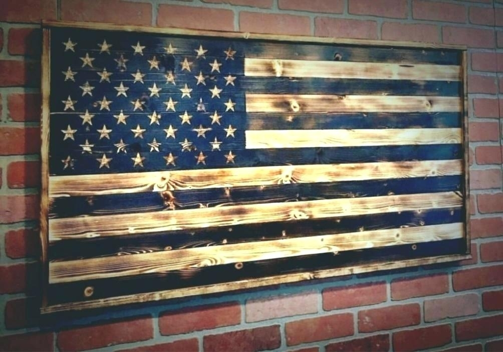 Wood American Flag Wall Decor Flag Wood Wall Art Wall Arts Large For Rustic American Flag Wall Art (View 3 of 10)