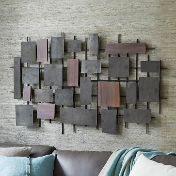 Wood And Metal Wall Entrancing Hammered Metal Wood Wall Art Westelm Pertaining To Wood And Metal Wall Art (Image 7 of 10)