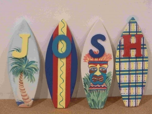 Wood Surfboard Wall Letter Art Hand Painted Personalized Pertaining To Surfboard Wall Art (Image 9 of 10)