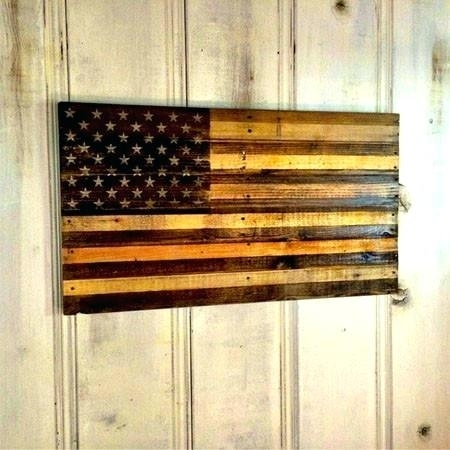 Wooden American Flag Wall Art Rustic Vintage Wood Flags Patriotism Intended For Wooden American Flag Wall Art (Image 8 of 10)