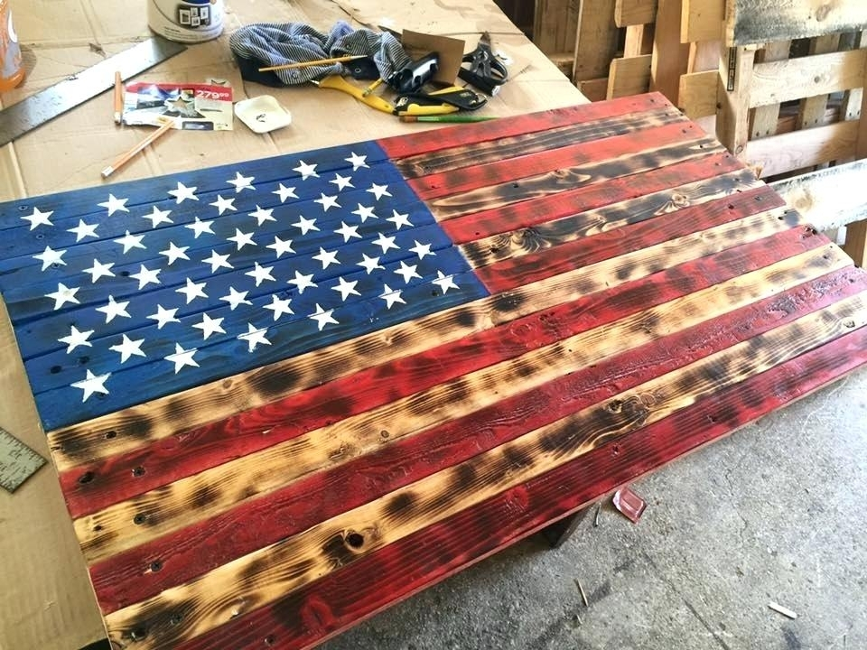 Wooden American Flag Wall Art Wooden Pallet Flag Wall Sign Rustic Regarding Wooden American Flag Wall Art (Image 9 of 10)