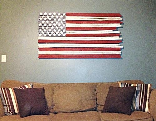 Wooden American Flag Wall Hanging Flag Wall Decor Lovely Wooden Flag Intended For Wooden American Flag Wall Art (Image 10 of 10)
