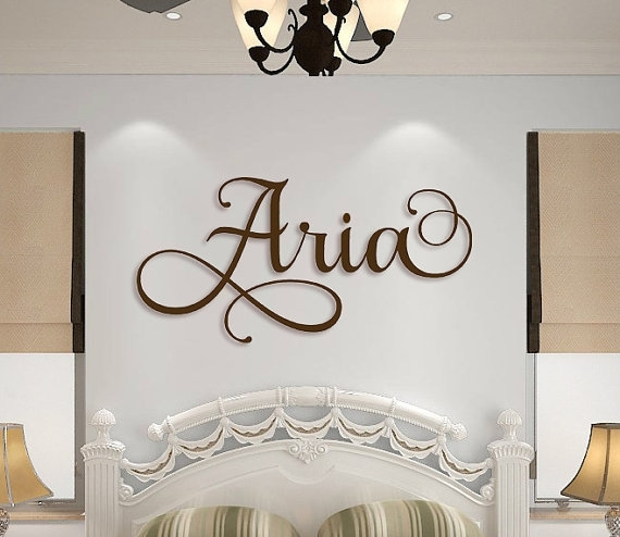Wooden Name Sign Wall Hanging Letters For Nursery Or Bedroom Inside Name Wall Art (Image 10 of 10)