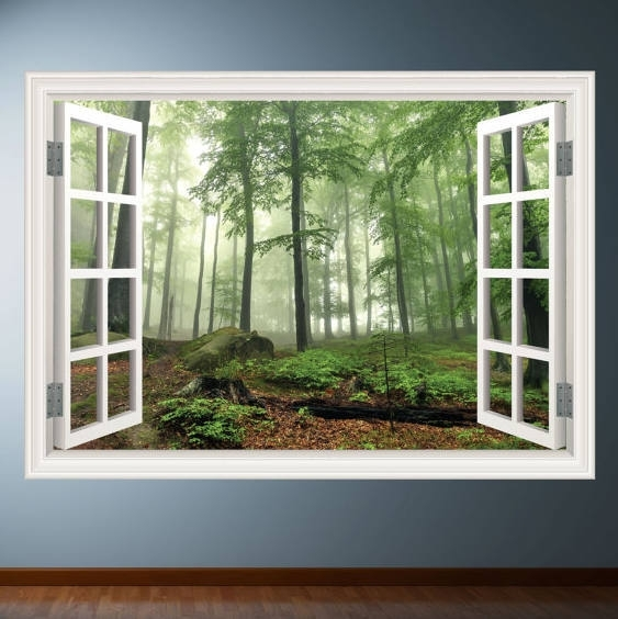 Woods Trees Window Frame Wall Art Sticker Decalmysticky On Zibbet Intended For Window Frame Wall Art (Image 10 of 10)