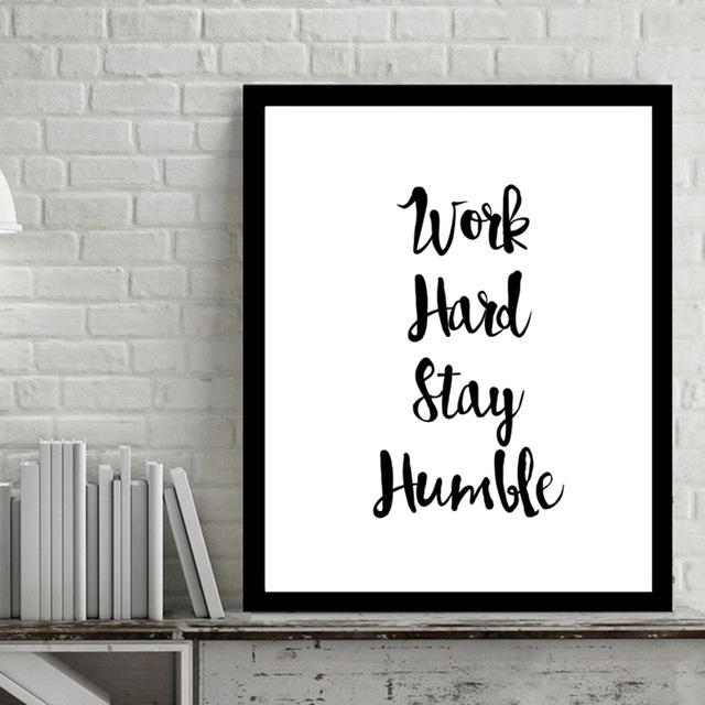 Work Hard Inspiring Quotes Wall Art Digital Poster Canvas Art Oil With Regard To Inspirational Quotes Wall Art (View 4 of 10)
