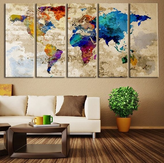 World Map Canvas Art Print, Wonders Of The World On World Map Art Within Wall Art World Map (View 8 of 10)