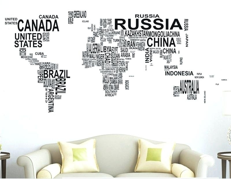 World Map Wall Art Stickers World Map Sticker Wall Art Decal Globe For Wall Art Stickers World Map (Image 10 of 10)