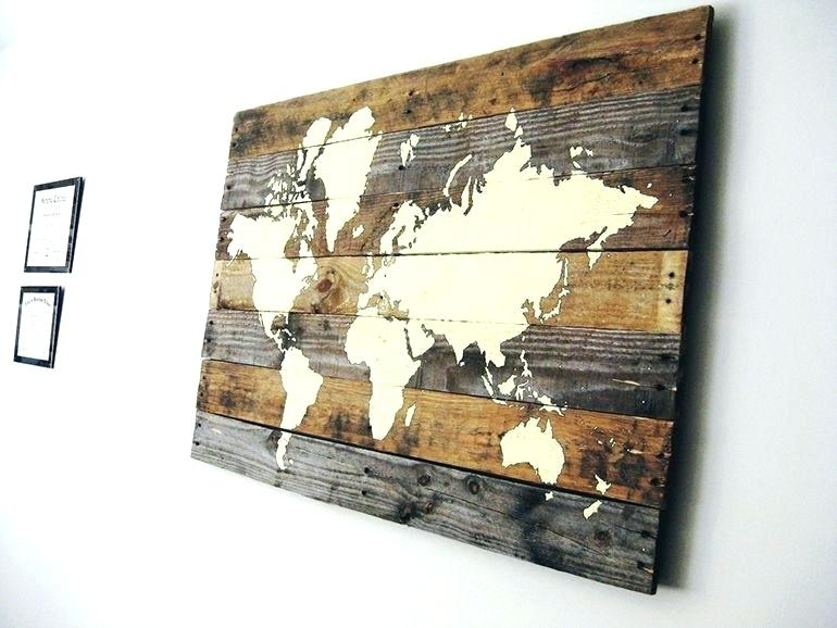 World Map Wood Art Wall Arts World Map Wood Wall Art Wood Map Wall Regarding Wall Art Map Of World (View 6 of 10)